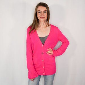 J. CREW Collection Pink Cashmere Bell Sleeve Cardi